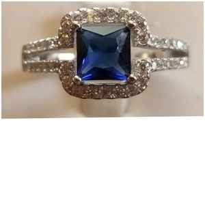 3ct Blue & White Sapphire Ring Size 8.5